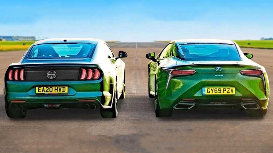 Ford Mustang Bullitt faces Lexus LC500 in a very green V8 drag race