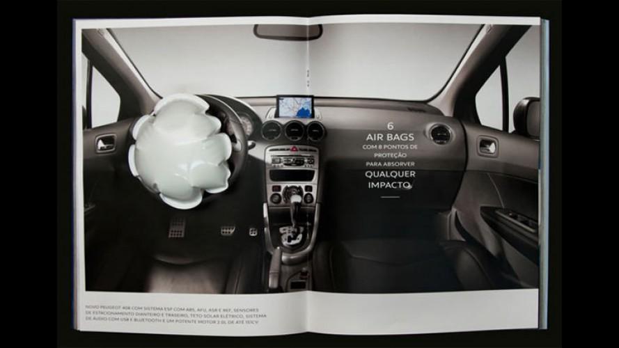 VÍDEO: Anúncio do Peugeot 408 em revista tem airbag que funciona de verdade