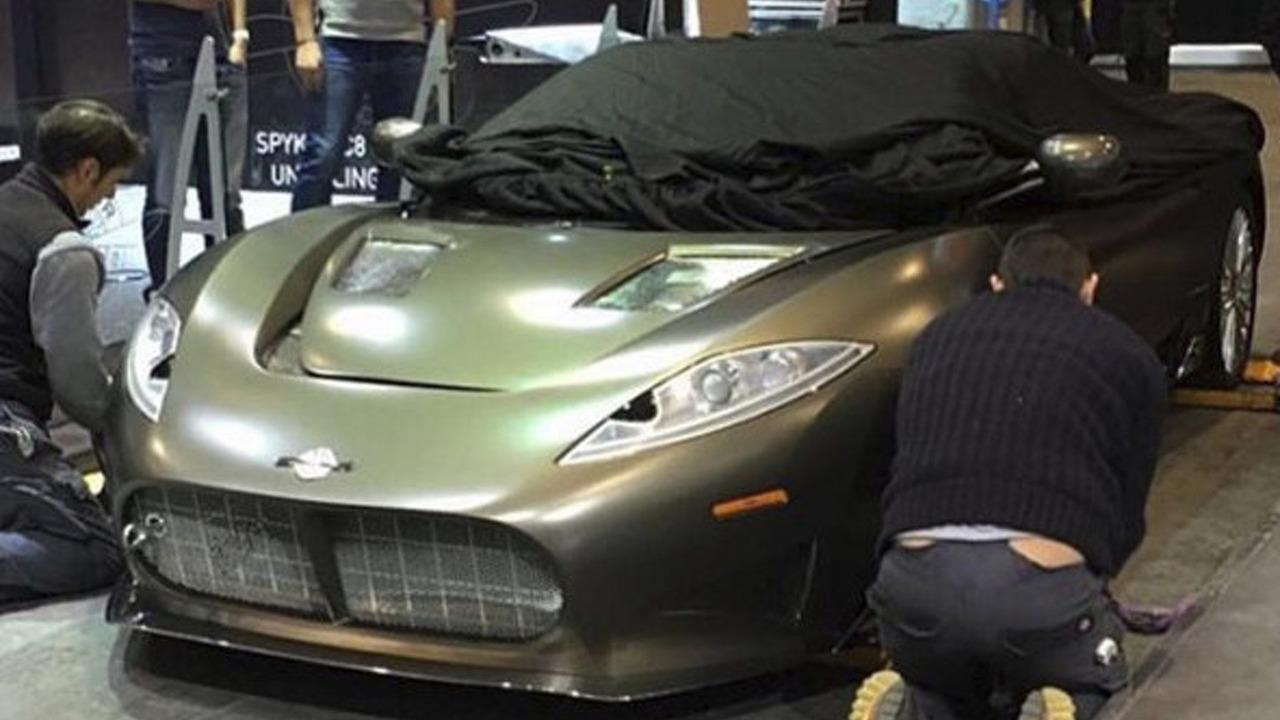 Spyker C8 Preliator spied on the Geneva Motor Show floor