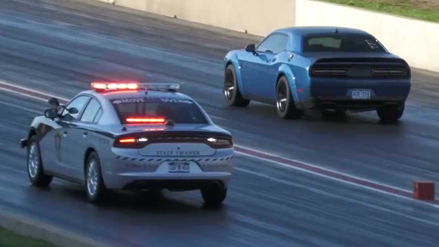 Two Dodge Challenger Hellcats Outrun Police Charger At Drag Strip