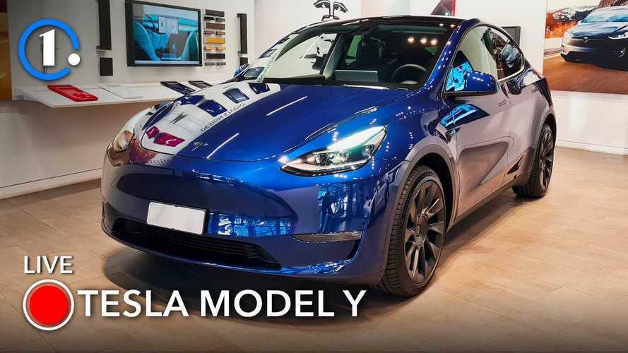 La Tesla Model Y è arrivata in Italia, l'abbiamo vistadal vivo