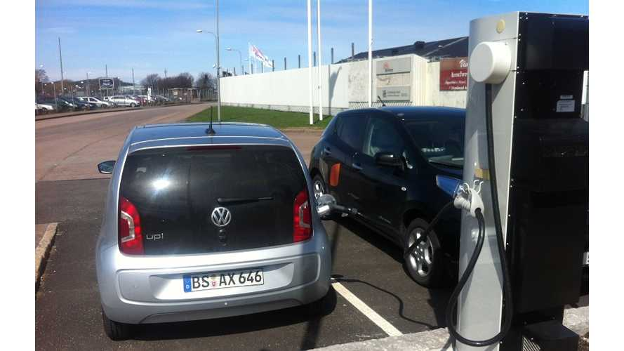 What Is This? Volkswagen Testing An E-Up!, With A CHAdeMO Connector?