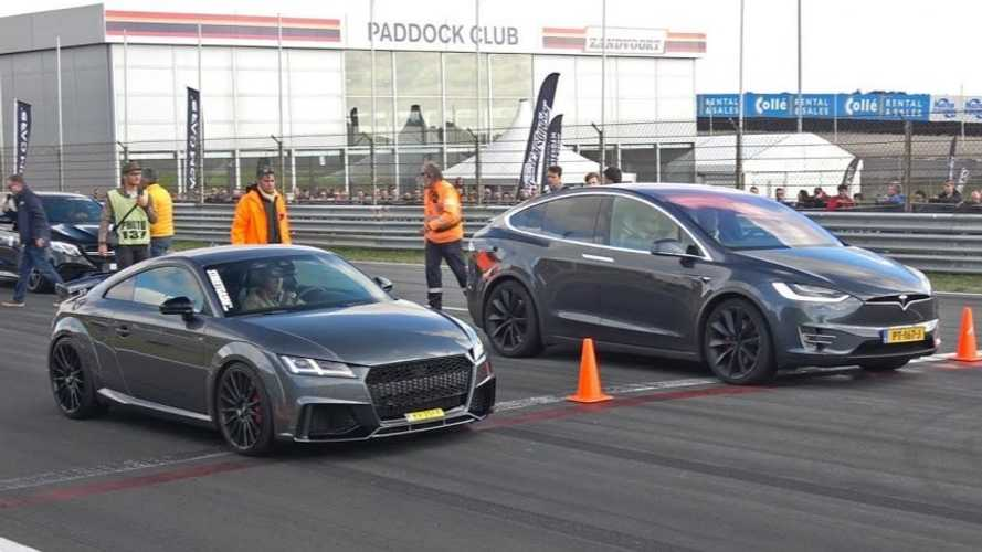Watch 510-HP Audi TT-RS Race Tesla Model X, Ferrari & More