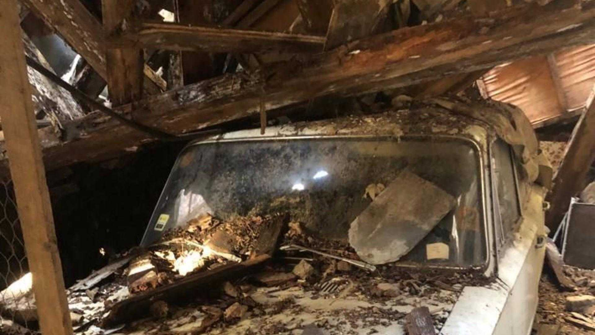 "[""Fiat 124 trapped in a collapsed barn since 1978""]"