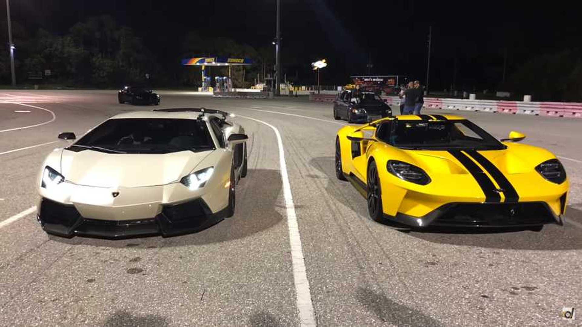 Ford gt drag races aventador in a quarter mile showdown
