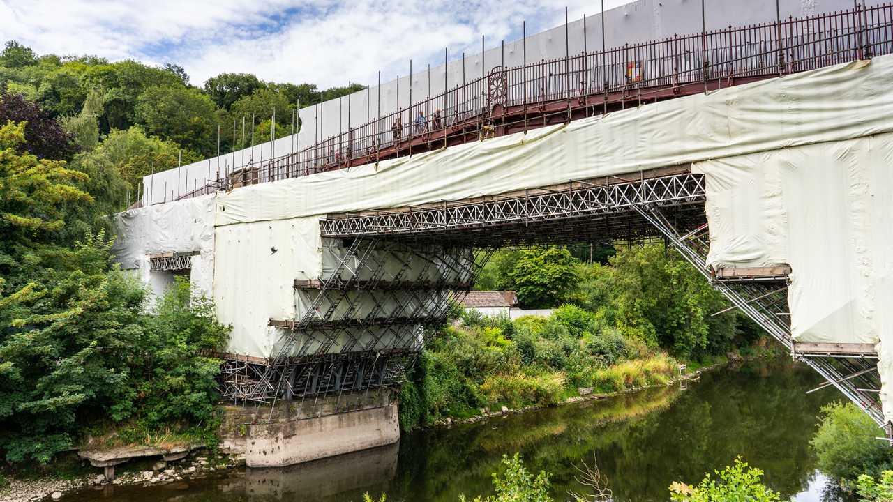 Ironbridge under renovation in Shropshire UK