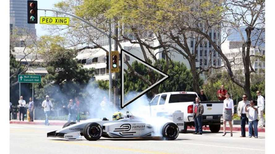 Video: Formula E Racer Burns Rubber in LA