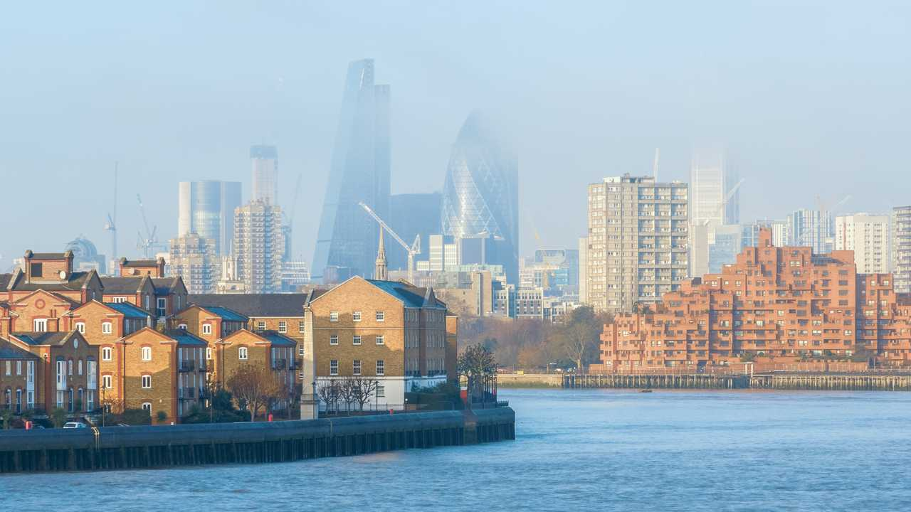 Hazy view of London seen from Canary Wharf