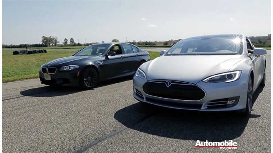 Tesla Model S VS BMW M5 Drag Race (VIDEO)