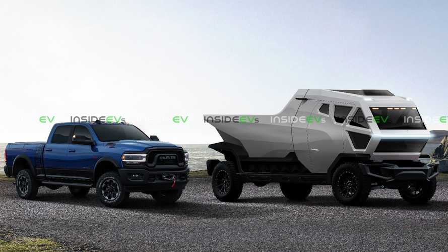 Mars-Inspired Tesla Truck Render Shows Small Ram Pickup For Scale