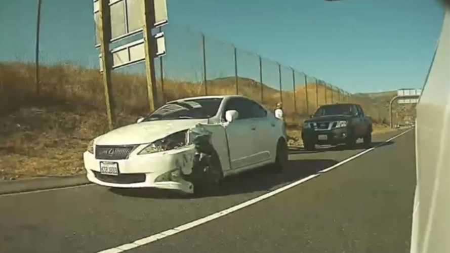 After Flipping Off A Tesla, This Reckless, High-Speed Driver Crashes