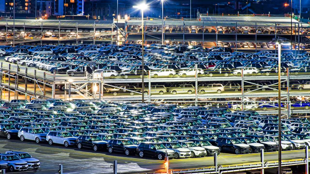 Range Rover vehicles ready for shipment in port of Southampton UK