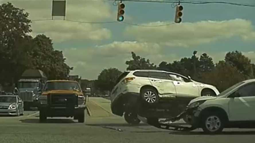 Watch Rollover Two-Car Crash From The View Of A Tesla