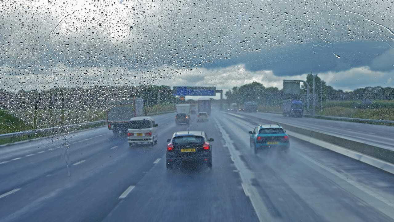 Heavy rain conditions on M6 motorway in Cumbria UK