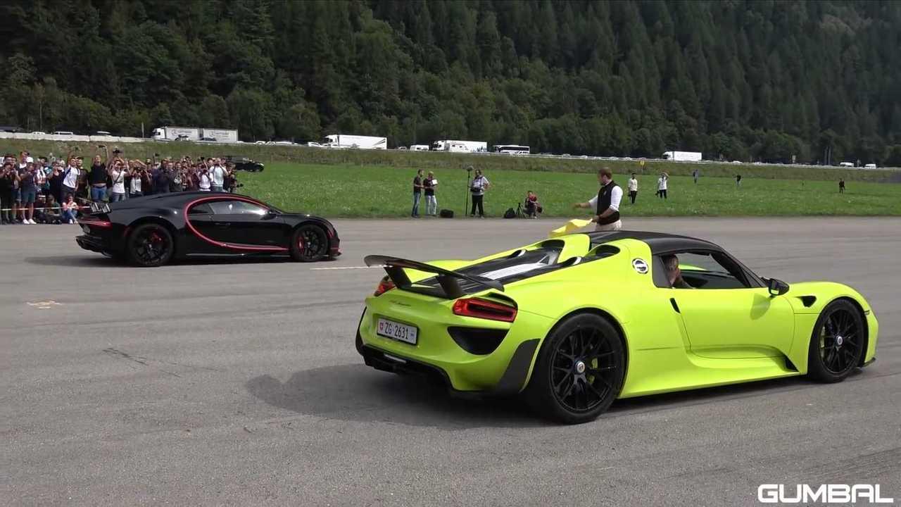 Bugatti Chiron Drag Races Porsche 918 Spyder