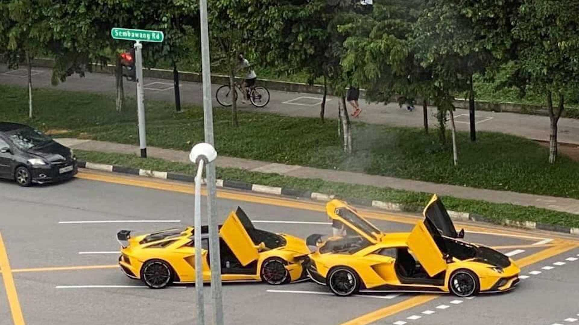What Were The Odds? Yellow Lamborghini Aventador Crashes Into Another One