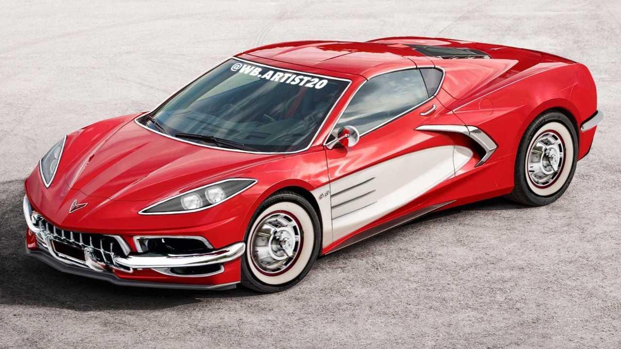 Corvette C1 And C8 Mashup Rendering