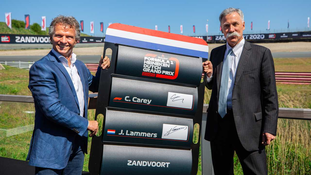 Jan Lammers with Chase Carey, Formula One CEO at Dutch GP press conference 2019