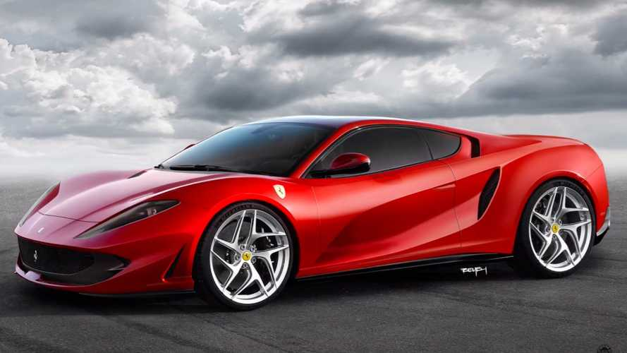 Ferrari 812 Superfast rendered as a mid-engine supercar