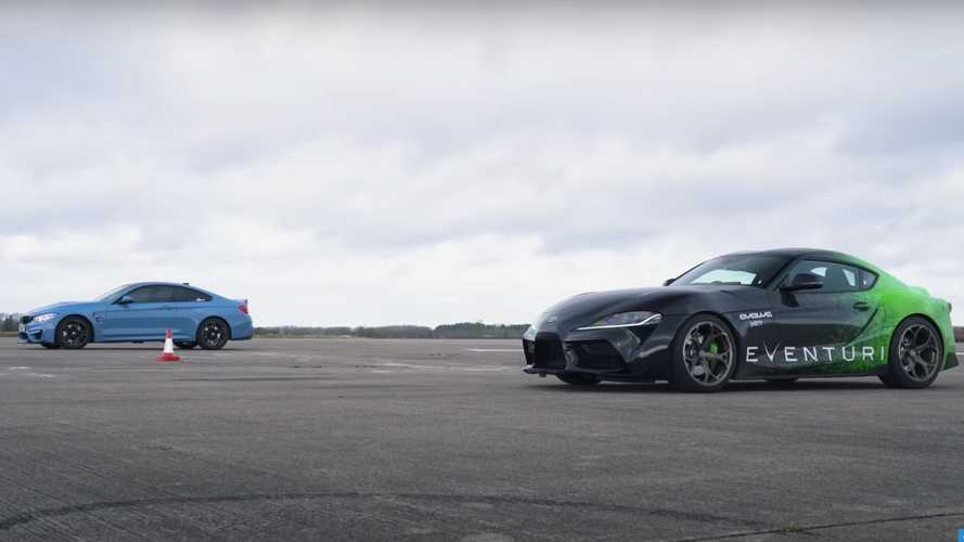 Can A Tuned Toyota Supra Keep Up With The BMW M4 In A Drag Race?