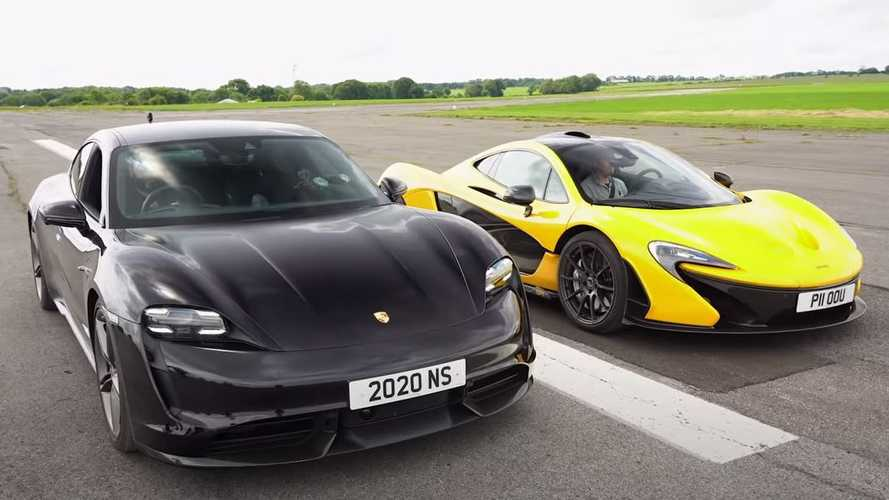 Watch Porsche Taycan Turbo S battle mighty McLaren P1 at the strip
