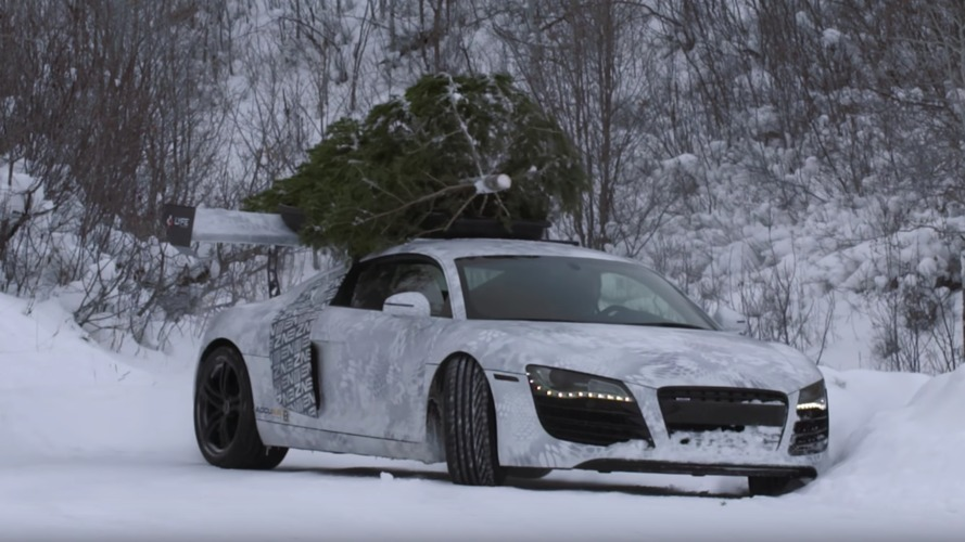 Audi R8 ile kar üzerinde drift yapmak!