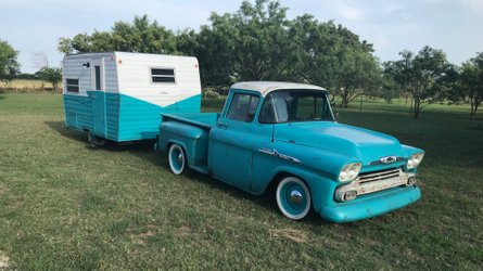 Cruise in style with this 1956 chevrolet 3100 and matching camper