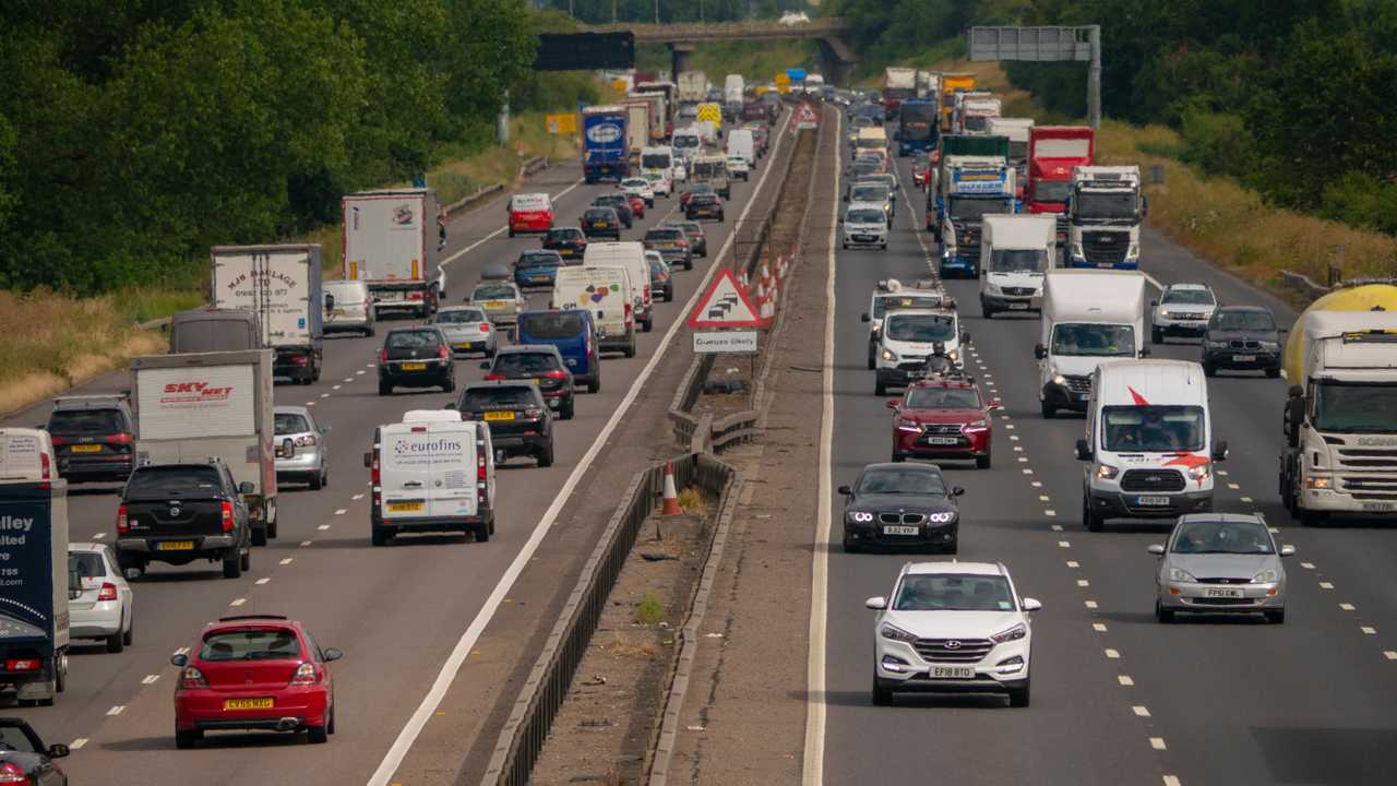 Heavy traffic on the M1 motorway near Salford Bedfordshire England UK