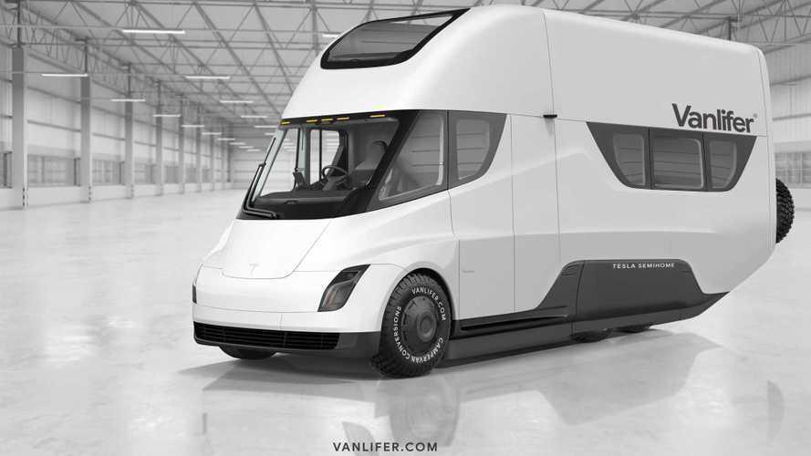 Tesla Semi camperizzato, Vanlifer lo immagina così