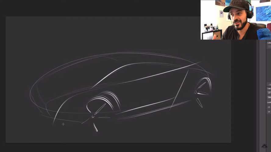 Mini mid-engine rendering sketch