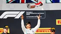 Winner Lewis Hamilton, Mercedes AMG F1, second place Max Verstappen, Red Bull Racing, third place Kimi Raikkonen, Ferrari, on the podium