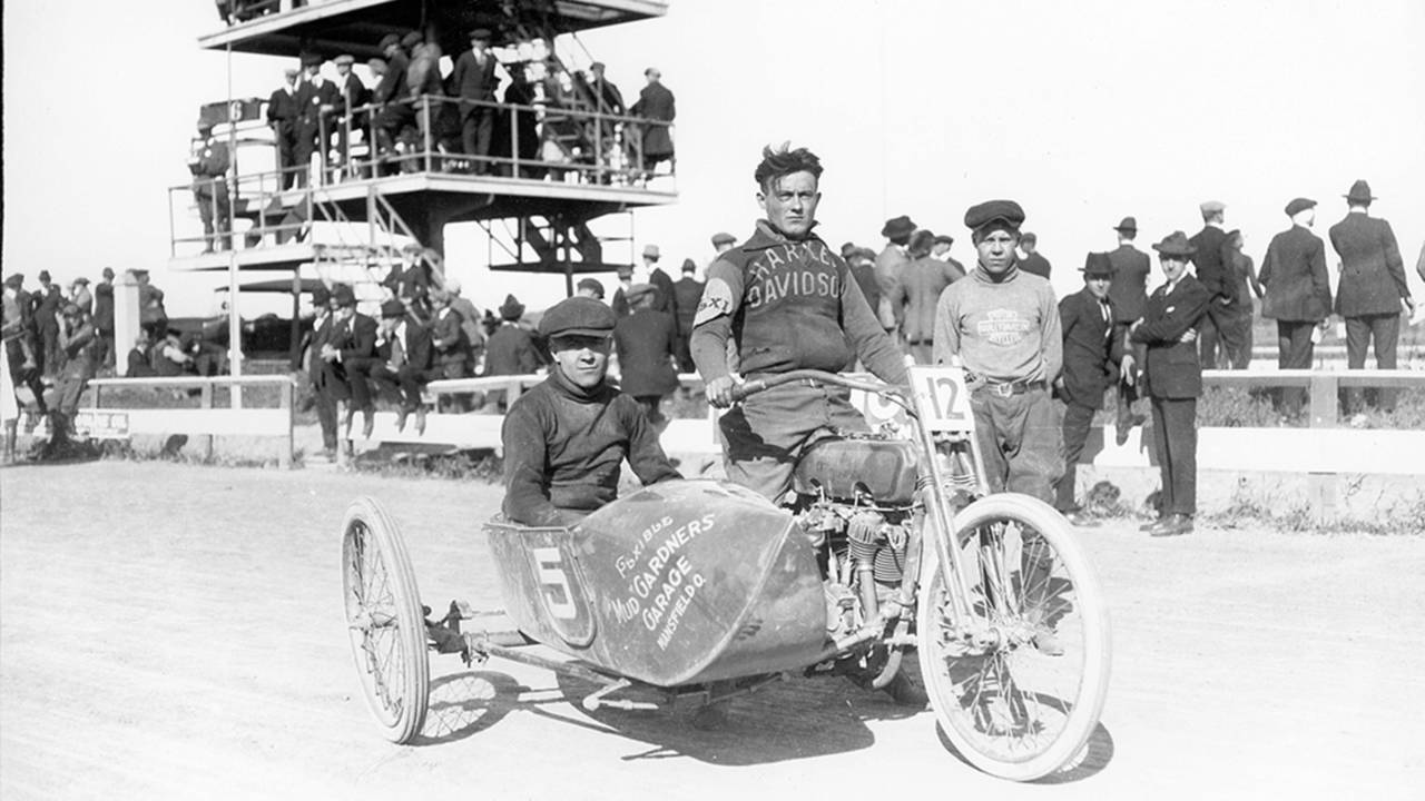 <strong>Like many of the highly dangerous forms of early motorcycle racing, sidecar racing was banned in 1925. This, along with sagging motorcycle sales, led to the demise of the Flxible sidecar. Photo courtesy of the CRF Museum / Mohican Historical Society, Loudonville Ohio.</strong>