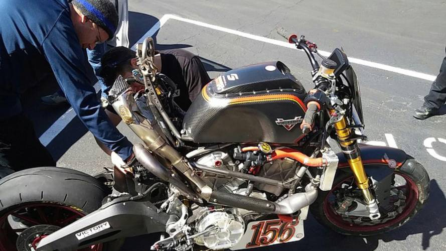 Victory Project 156 bike damaged in crash, Canet is OK