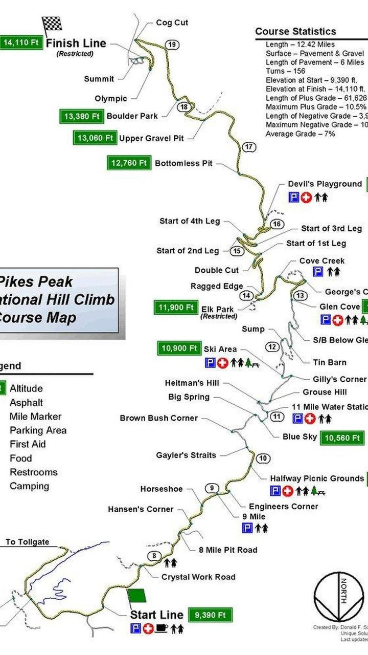 Pikes Peak International Hill Climb Course Map 28 06 2017
