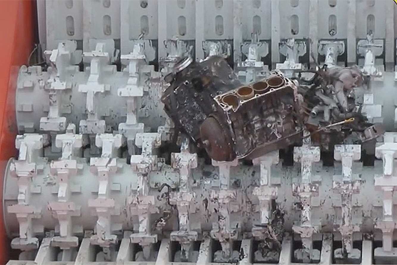 Watch This Shredder Devour Old Engines Like Dessert