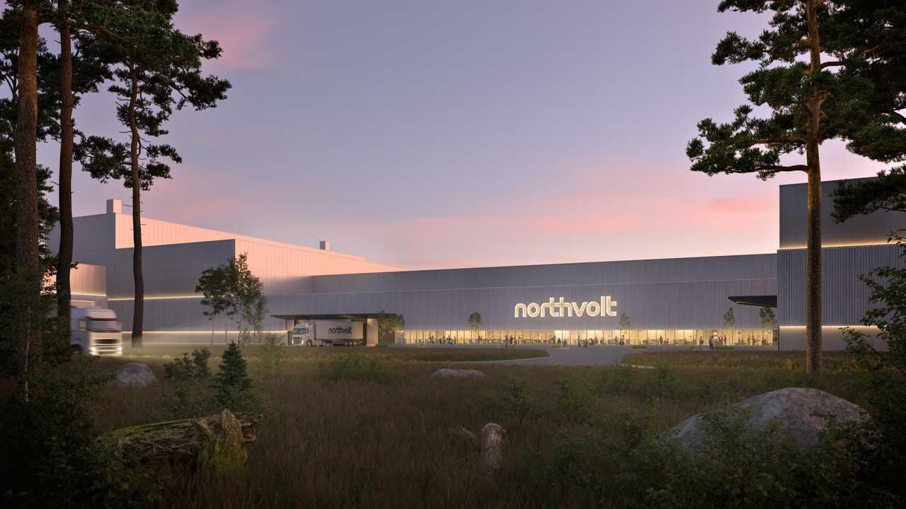 Una vista al tramonto di uno stabilimento Northvolt
