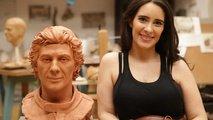 Ayrton Senna sculpture and Paula Senna Lalli
