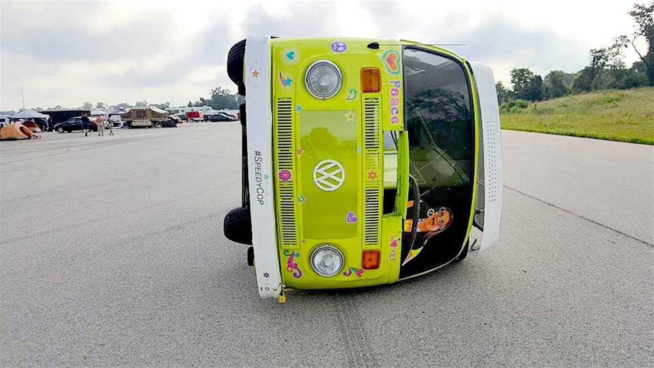 6. Would you believe a sideways VW Camper Van?
