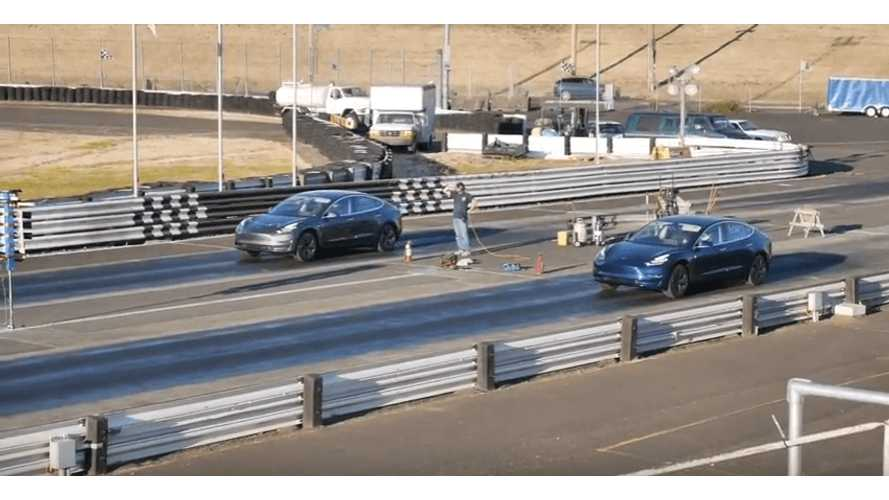 Watch Tesla Model 3 Performance Drag Race Vs. Long Range - Take Two