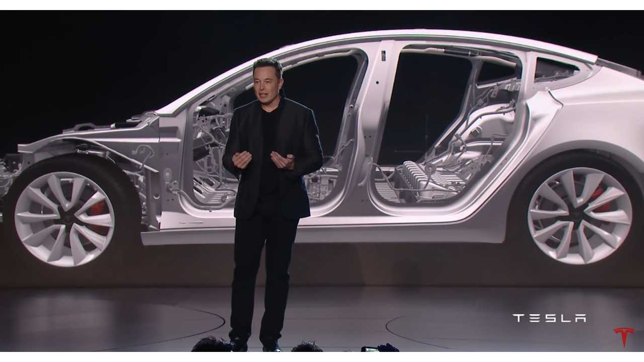 Tesla CEO Elon Musk at debut of Model 3 almost a year ago