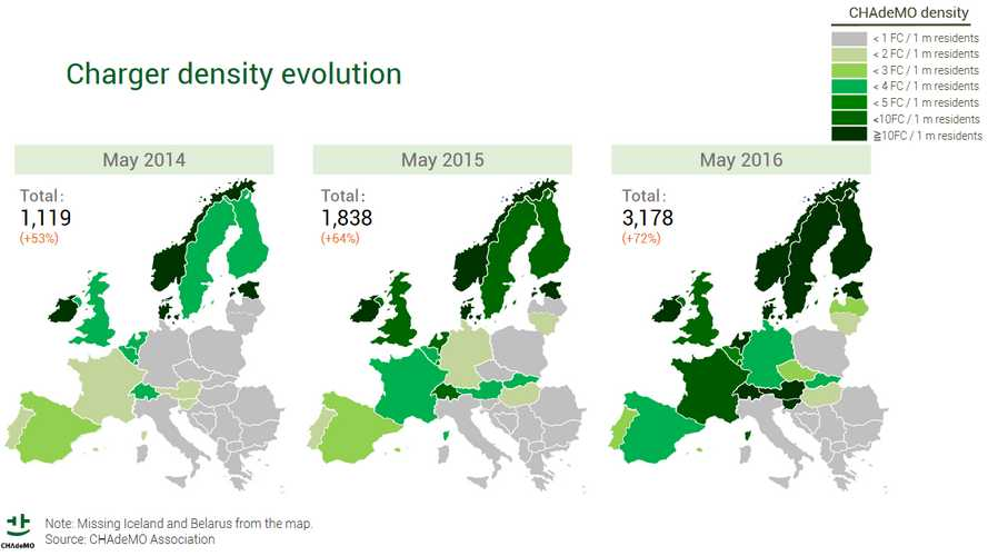 Europe's CHAdeMO Chargers Density Evolution Map