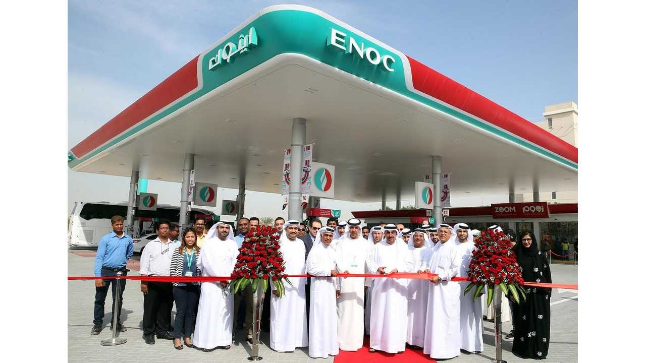 <em>Sign of the times: Emirates National Oil Company just opened the first solar-powered gas station in Dubai (Source: <a href=