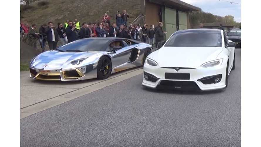 World's Ugliest Lamborghini Aventador LP700-4 Races (Or Not) A Tesla Model S P100D - Video