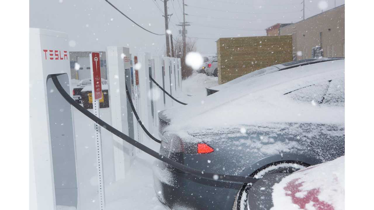 Tesla Model S Gets Supercharged In The Snow