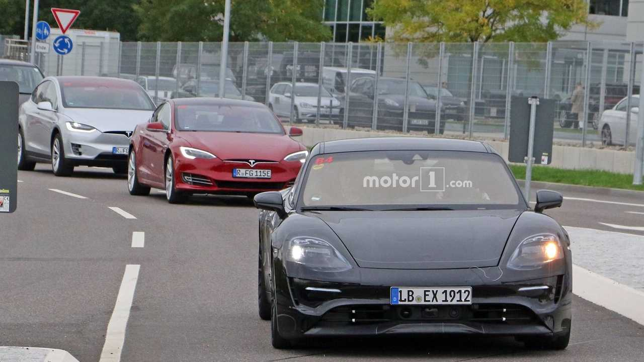 First Porsche Mission E Spy Photos Emerge, Complete With Teslas In Pursuit