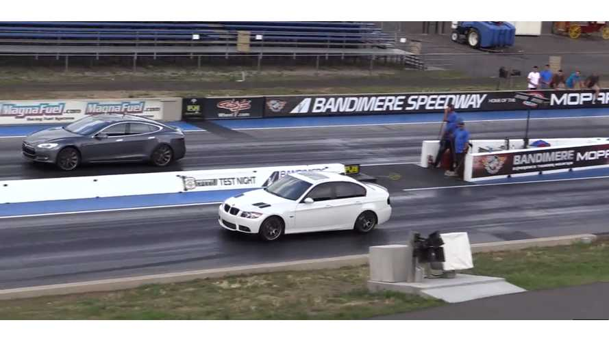 Tesla Model S Versus BMW 335i - Drag Race Video