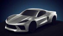 Mid-engined Chevrolet Corvette 3D rendering