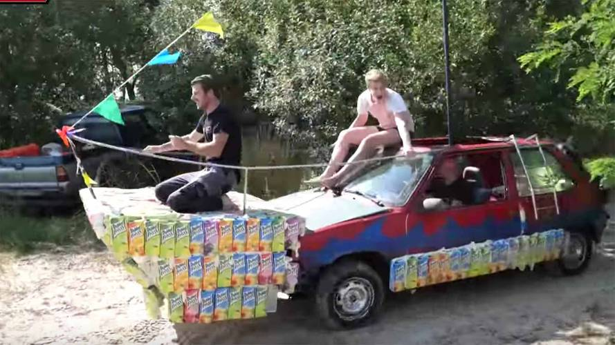 Renault 5 Turned Into Low-Cost Amphibious Car Using  Juice Boxes