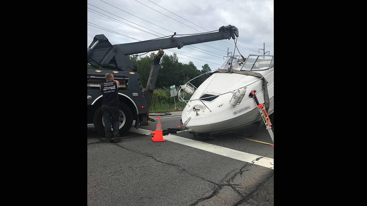 Boat crashes into Ram pickup