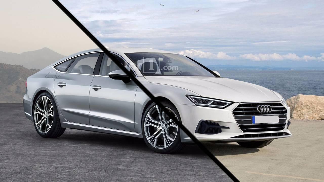 Audi A7 Sportback render vs official image